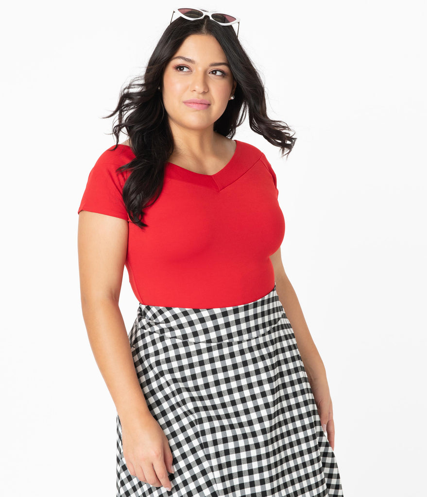 Unique Vintage Plus Size 1950s Style Red Deena Top
