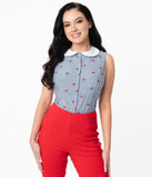 Unique Vintage Chambray Blue & Red Cherry Tuscadero Top