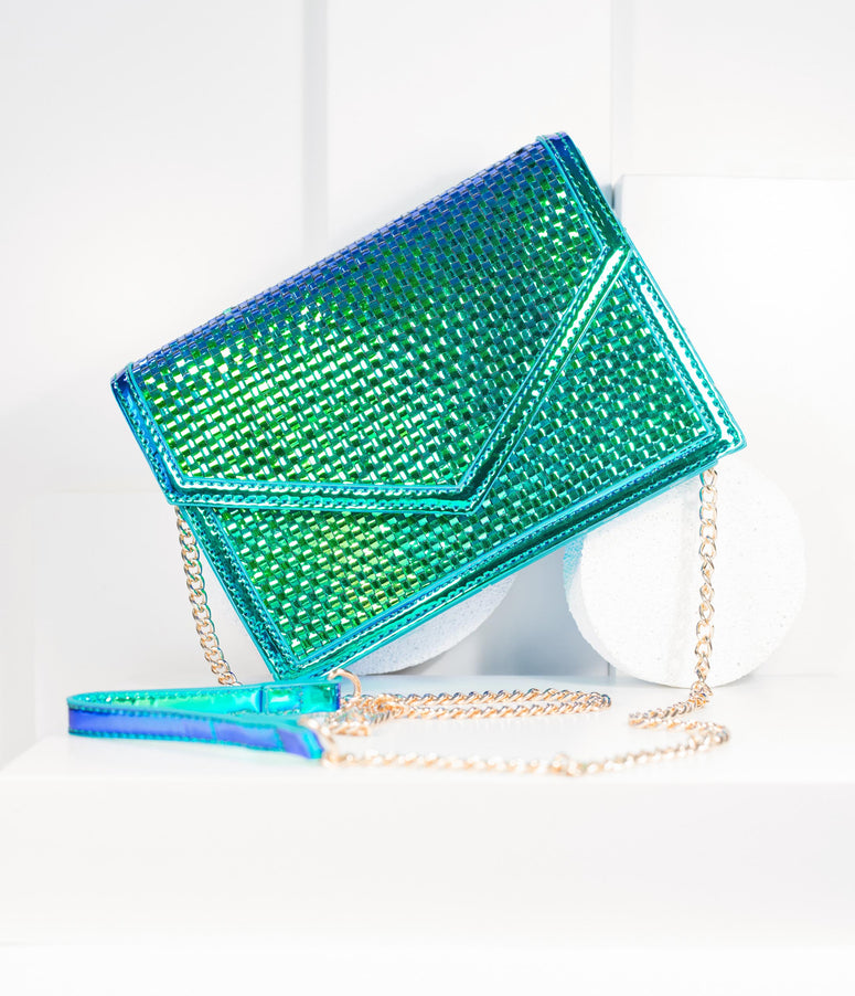 Iridescent Woven Envelope Clutch