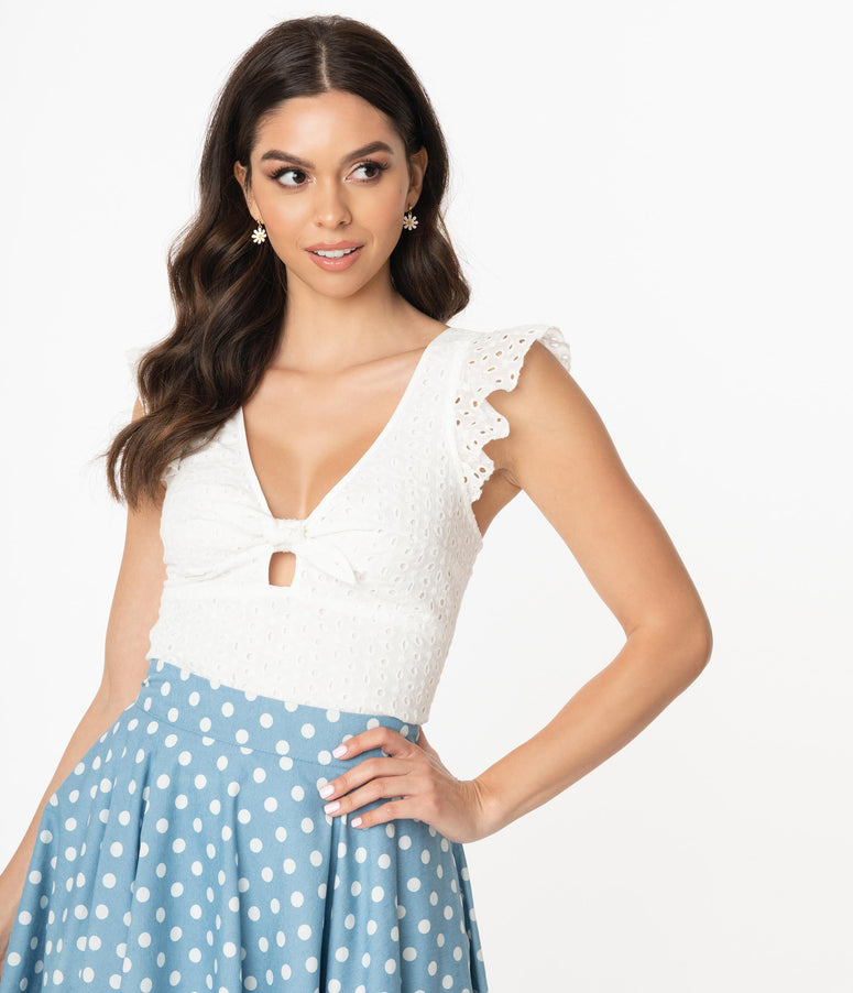 Smak Parlour White Eyelet Double Major Top