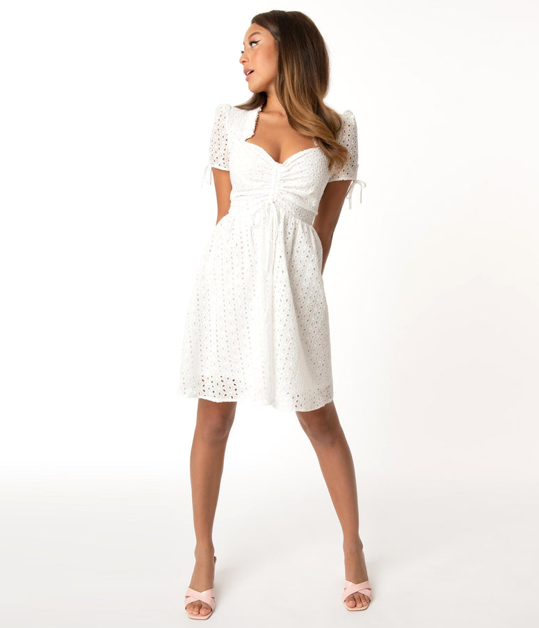 Smak Parlour White Eyelet Woodstock Flare Dress