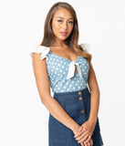 Smak Parlour Chambray & White Polka Dot Double Major Top