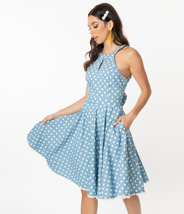 Smak Parlour Chambray & White Polka Dots Make Me Over Flare Dress