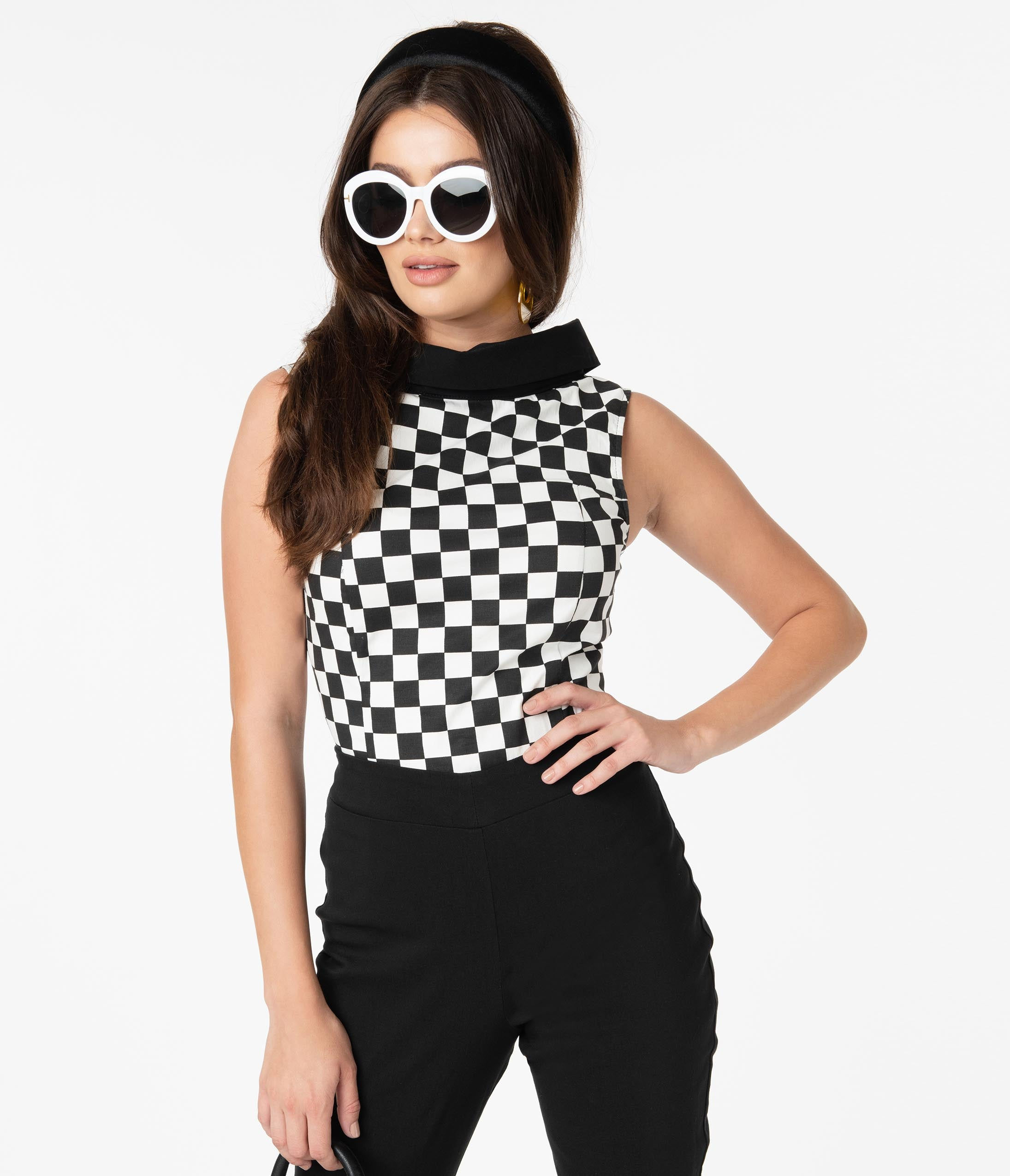 60s Shirts, T-shirts, Blouses, Hippie Shirts Smak Parlour Black  White Checkered Mod Top $48.00 AT vintagedancer.com