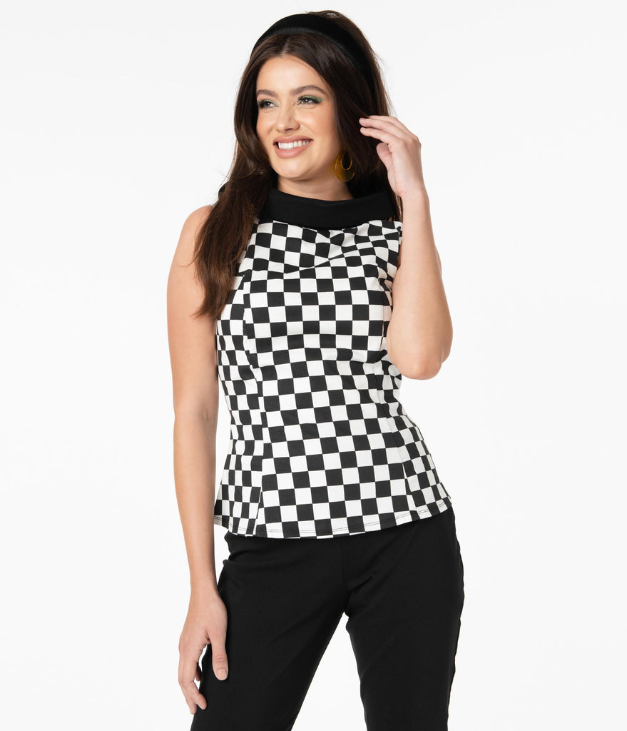 Smak Parlour Black & White Checkered Mod Top