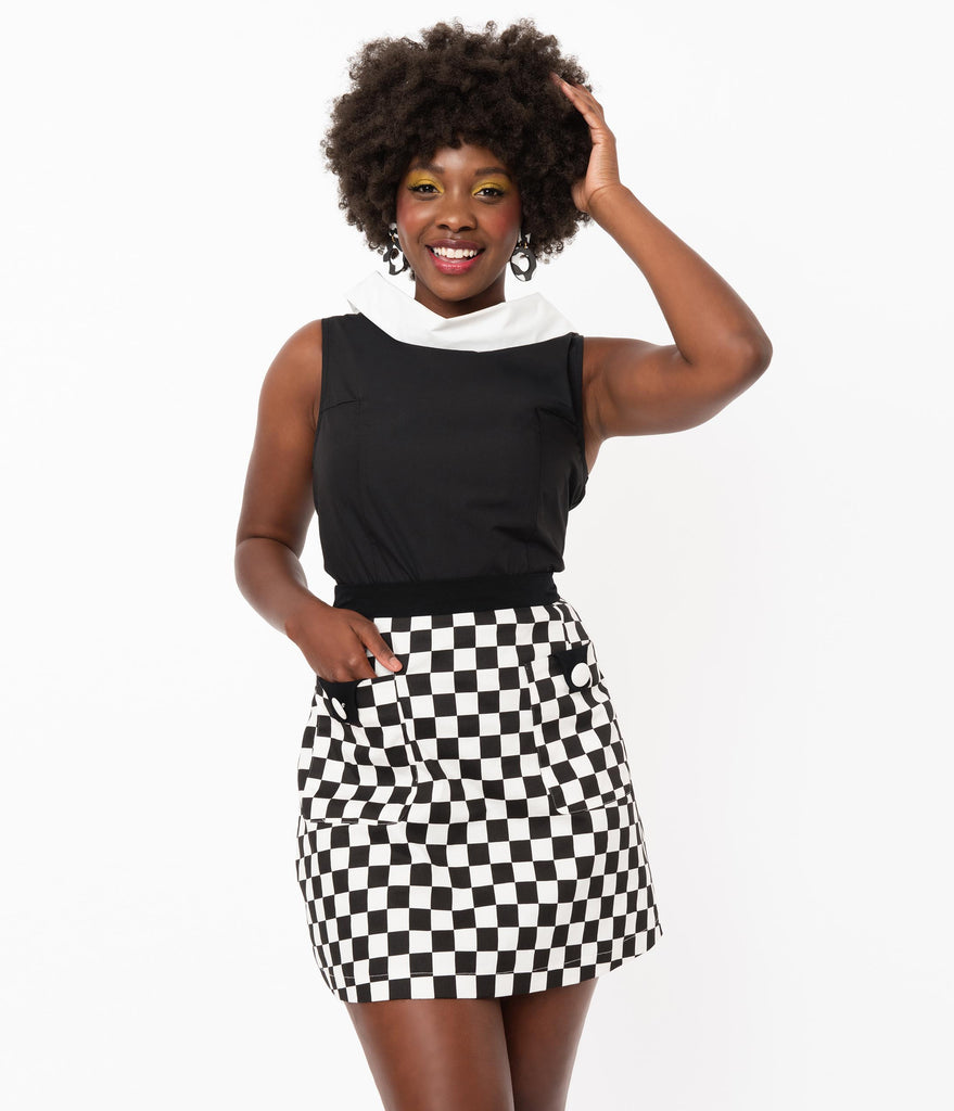 Smak Parlour Black & White Checkered Mod Skirt