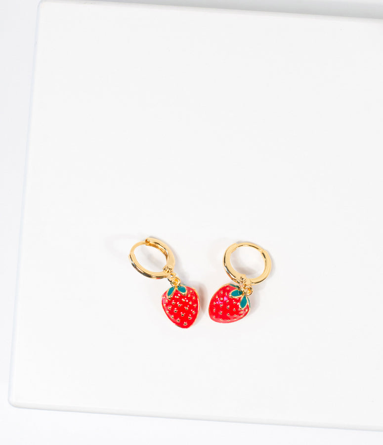 Unique Vintage Strawberry Drop Earrings