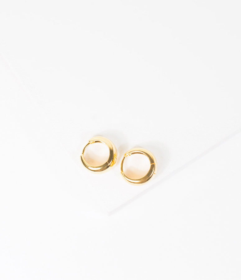 Unique Vintage Gold Mini Hoop Earrings