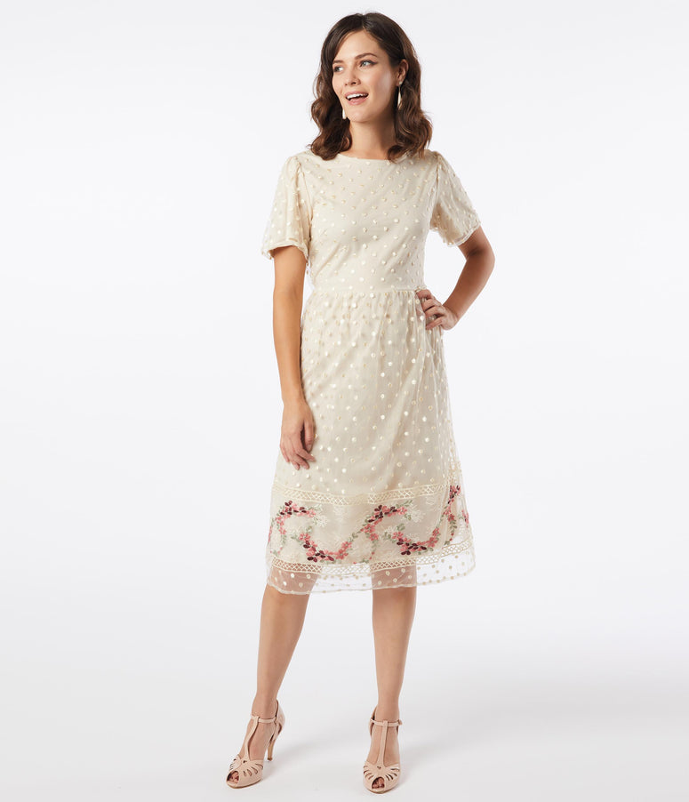Vintage Style Cream Swiss Dot Midi Dress