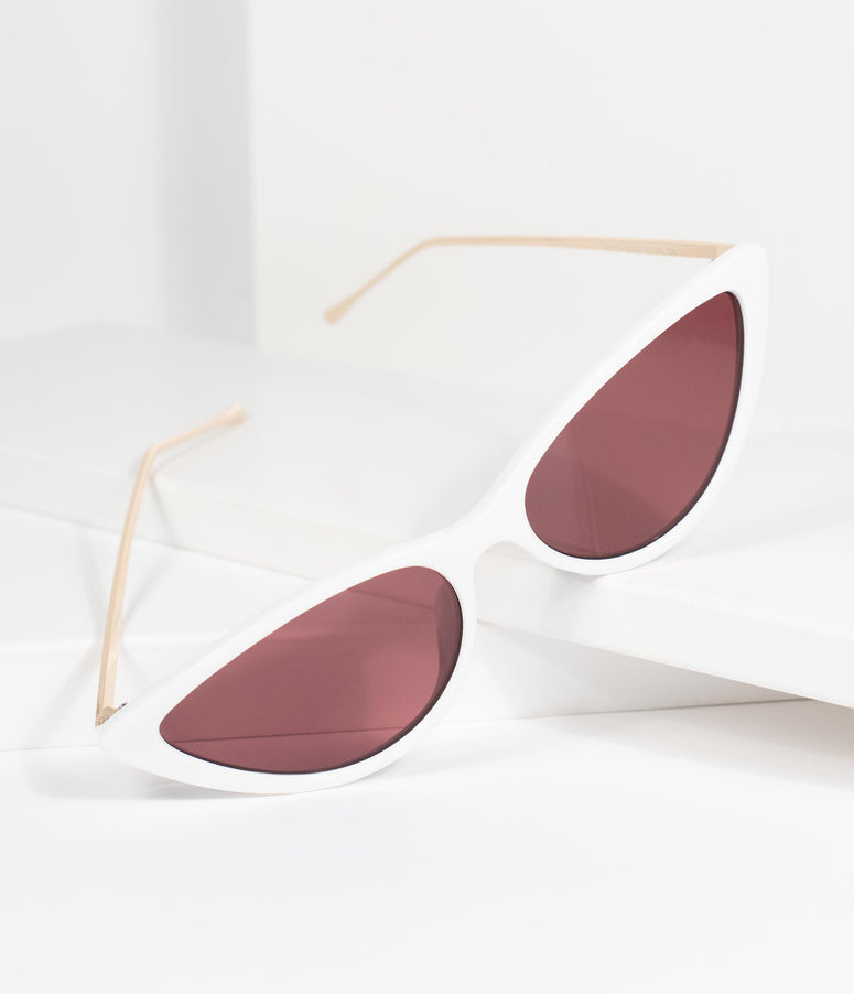 Classic White Cat Eye Sunglasses