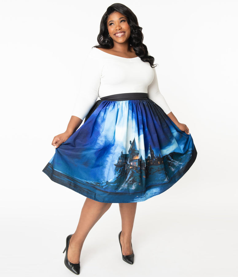 Harry Potter x Unique Vintage Plus Size Hogwarts Castle Swing Skirt