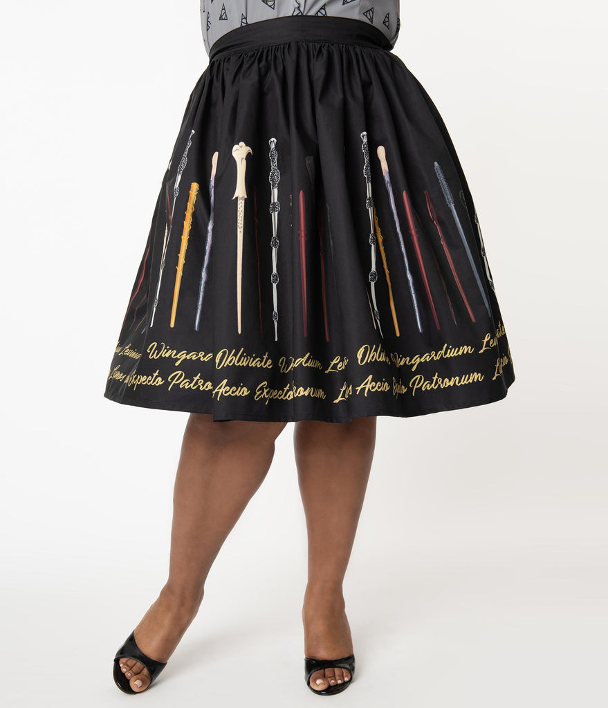 Harry Potter x Unique Vintage Plus Size Wands & Spells Swing Skirt