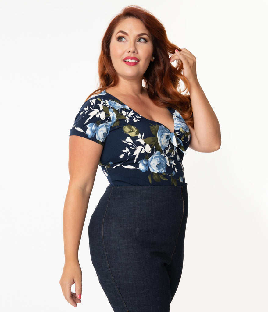 Unique Vintage Plus Size Navy & Blue Floral Sweetheart Rosemary Top
