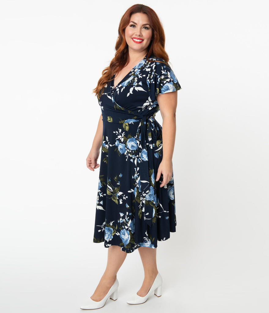 Unique Vintage Plus Size Navy & Light Blue Floral Jennie Wrap Dress