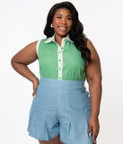 Unique Vintage Plus Size Green & White Dot Sleeveless Rochester Top