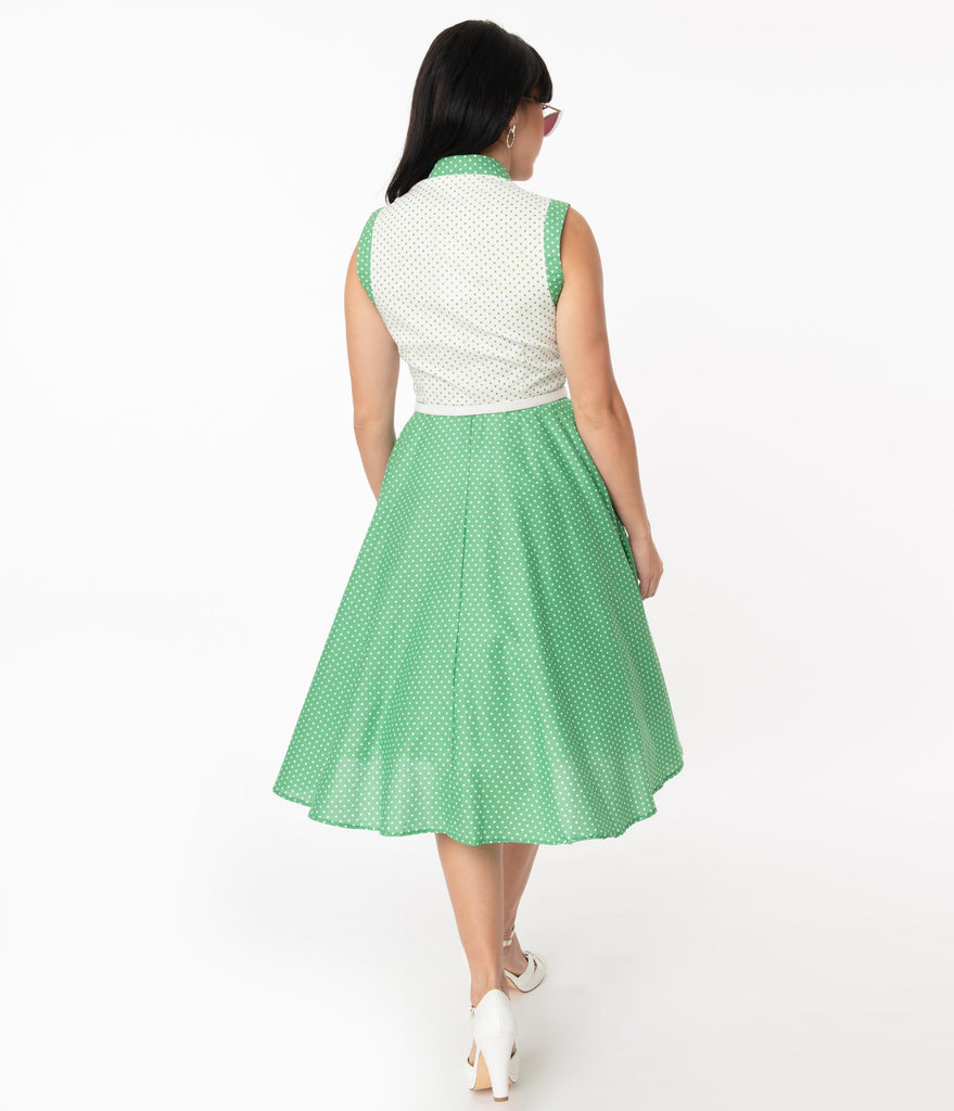 Unique Vintage Green & White Dot Bethany Swing Dress