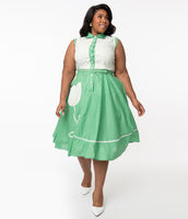 Plus Size Floral Polka Dots Print Sleeveless Cotton Fitted Pocketed Belted Button Front Elasticized Waistline Swing-Skirt Collared Dress