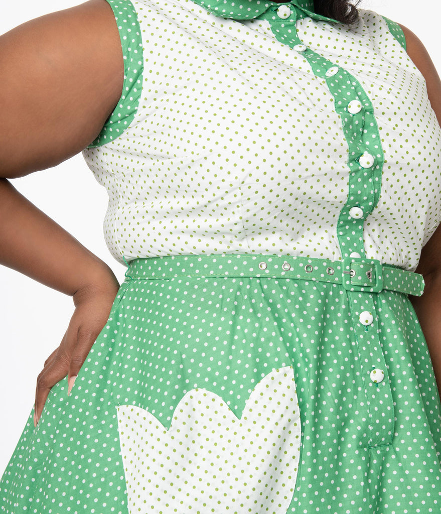 Unique Vintage Plus Size Green & White Dot Bethany Swing Dress