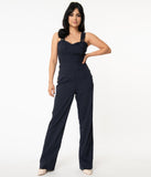 Unique Vintage 1970s Navy Blue Sedgewick Jumpsuit