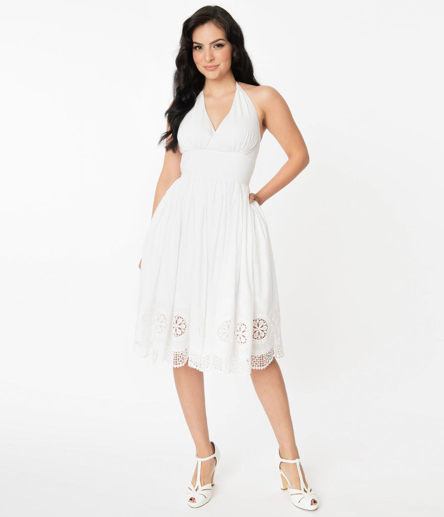 Unique Vintage White Eyelet Border Donna Dress