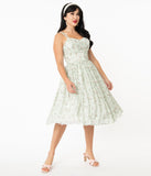 Unique Vintage Mint & Ivory Floral Reed Swing Dress