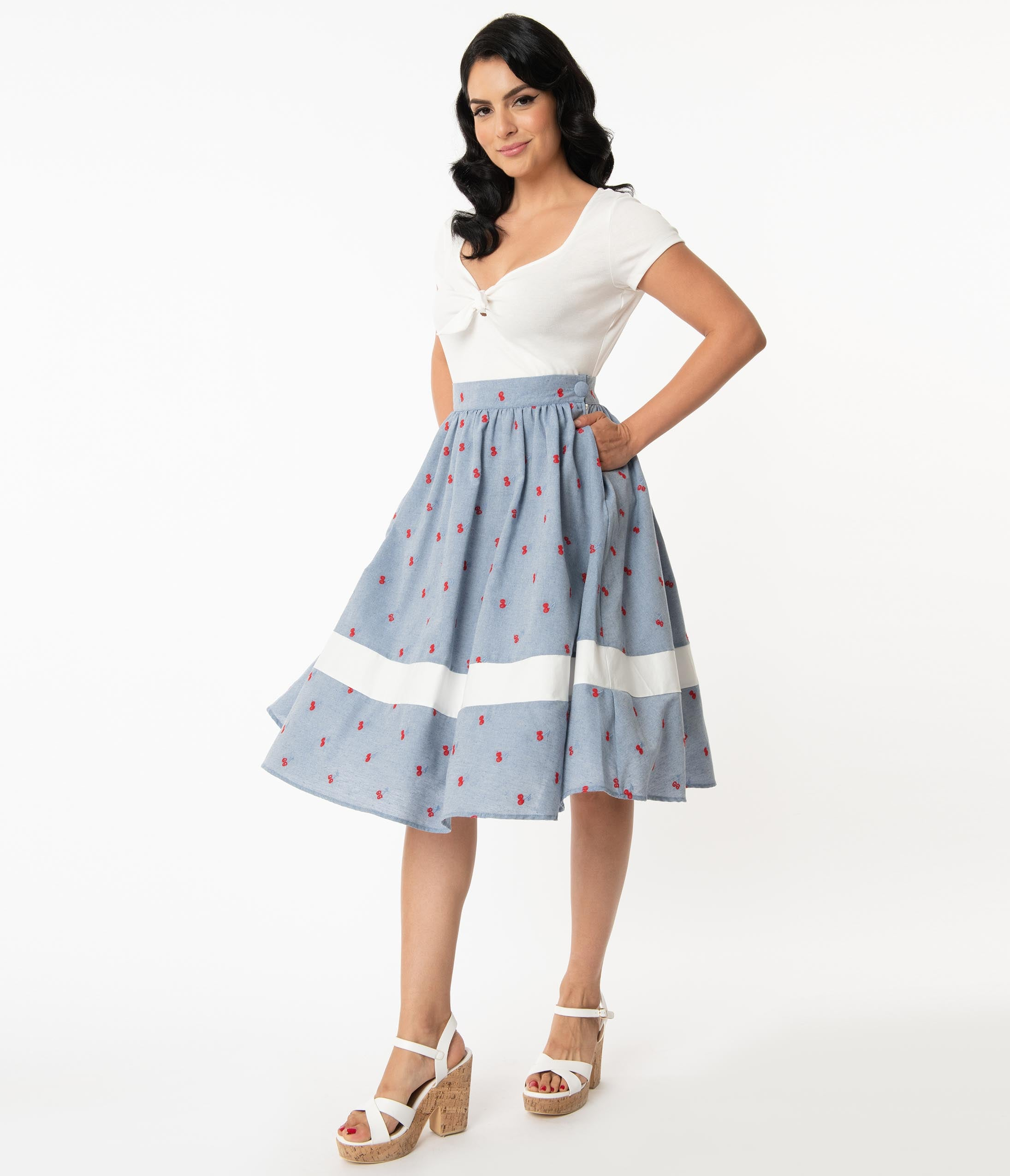 Vintage Skirts | Retro, Pencil, Swing, Boho Unique Vintage Chambray  Cherry Sawyer Swing Skirt $68.00 AT vintagedancer.com