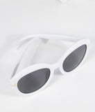 White Retro Rounded Sunglasses