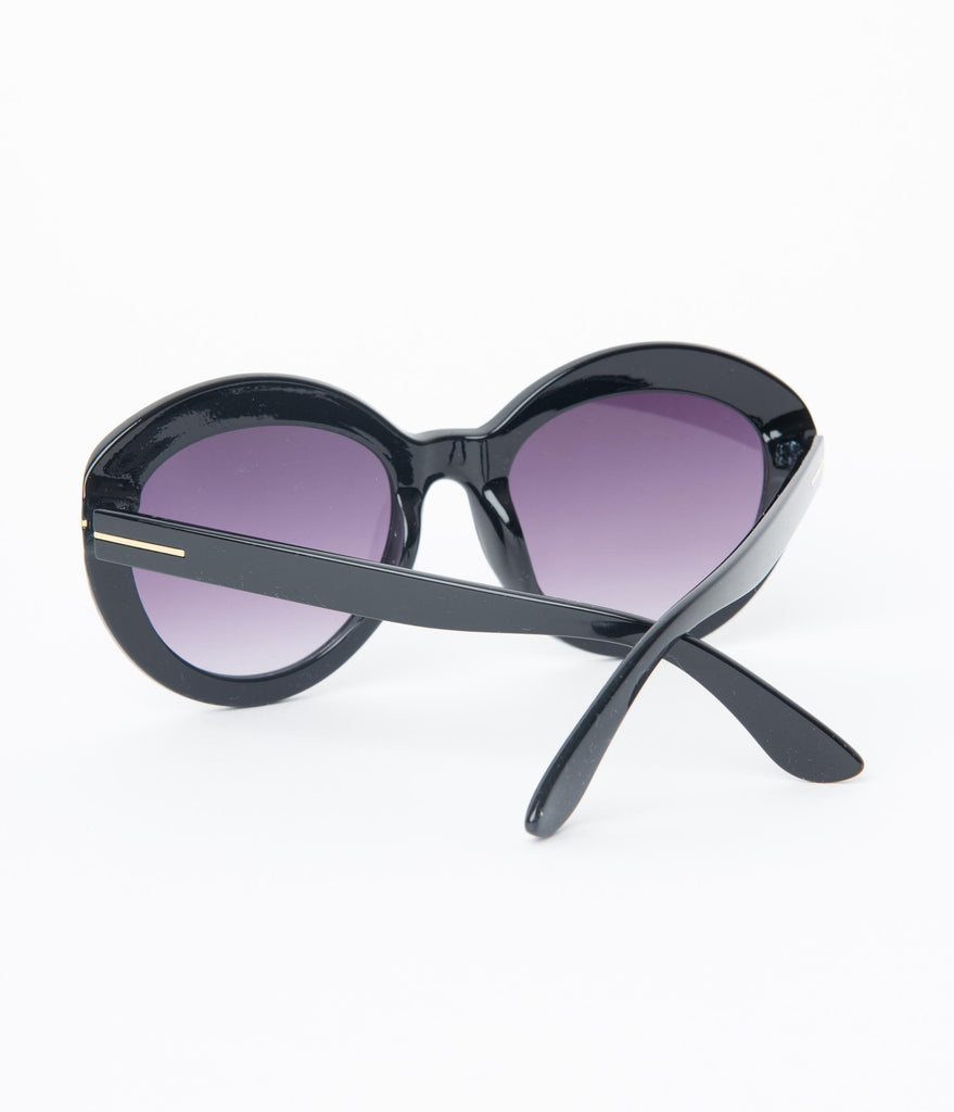 Black Retro Rounded Sunglasses