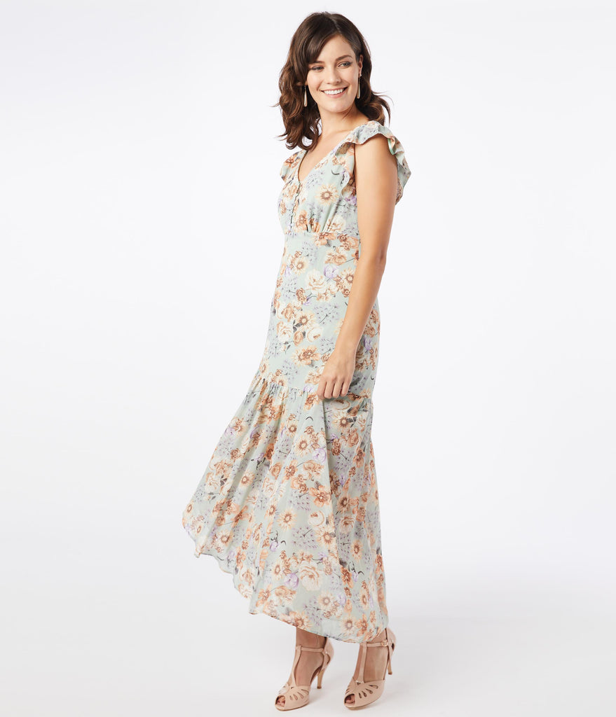 1920s Style Sage Floral Ruffle Maxi Day Dress