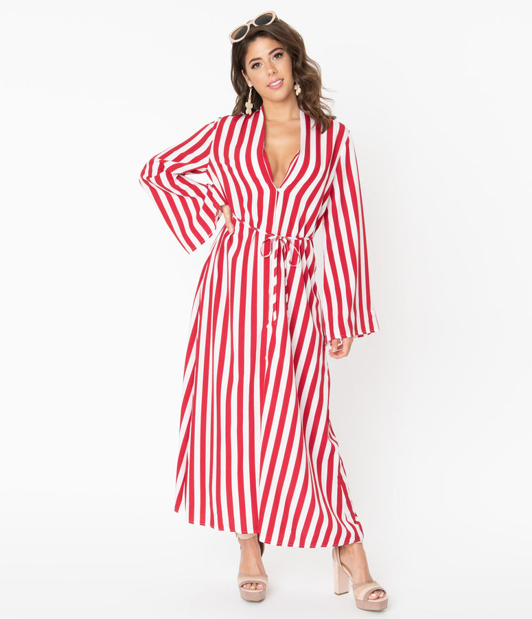 1970s Red & White Stripe Relaxed Maxi Dress