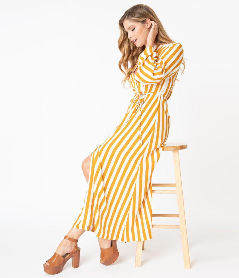 1970s Turmeric & White Stripe Relaxed Maxi Dress