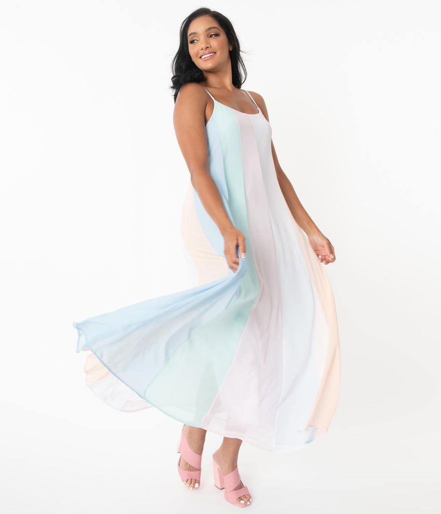 Pastel Rainbow Stripe Maxi Dress