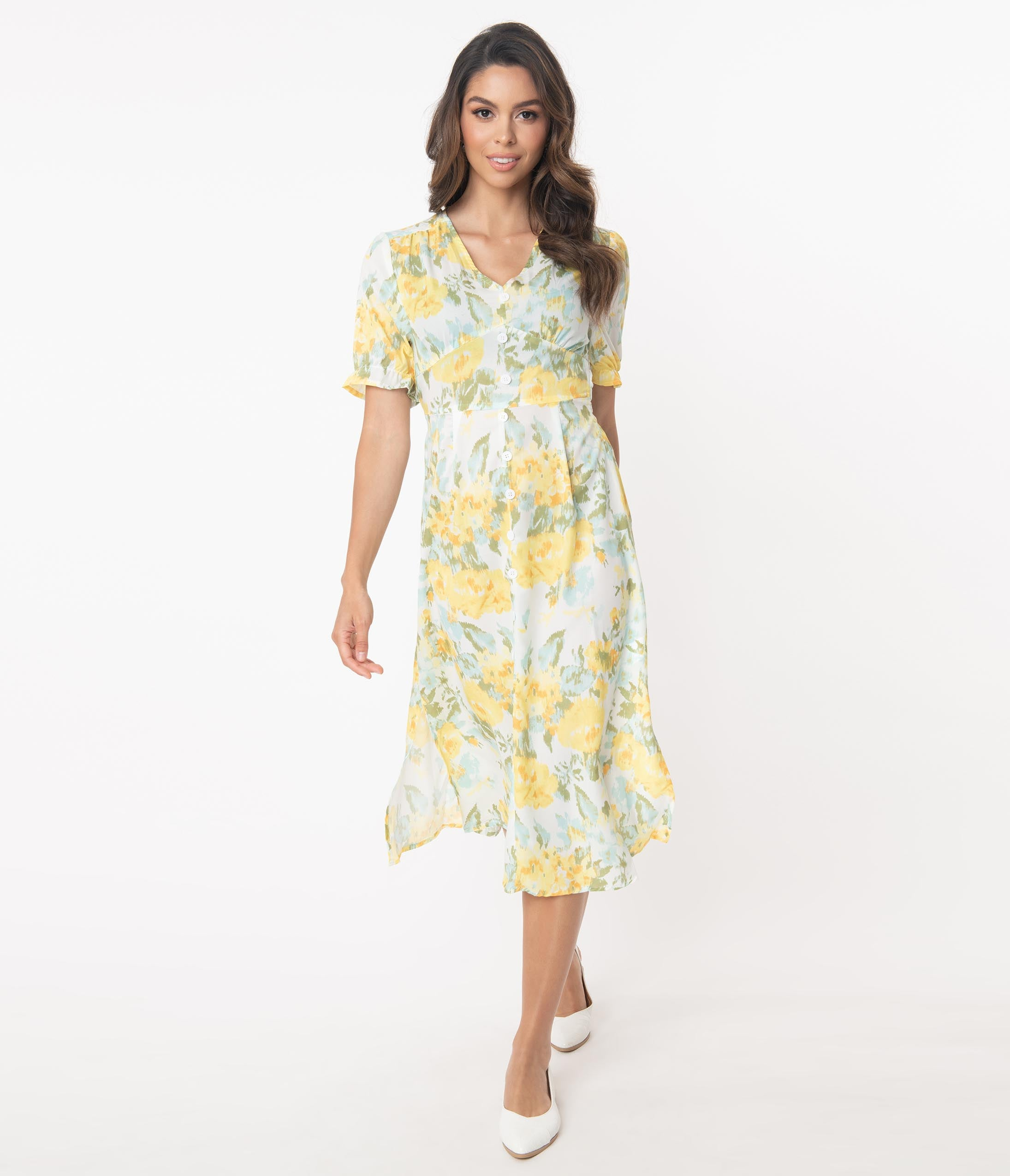 Vintage Style Dresses | Vintage Inspired Dresses Retro Style White  Yellow Floral Midi Dress $68.00 AT vintagedancer.com