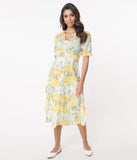 Retro Style White & Yellow Floral Midi Dress