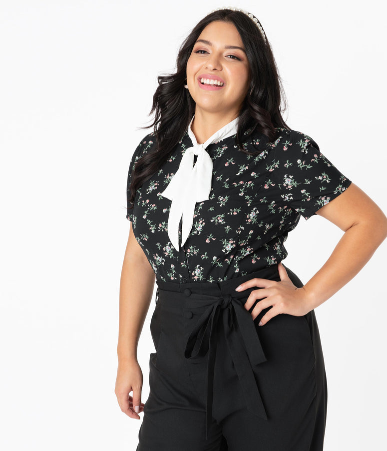 Unique Vintage Plus Size 1940s Black Dainty Floral Elsie Blouse