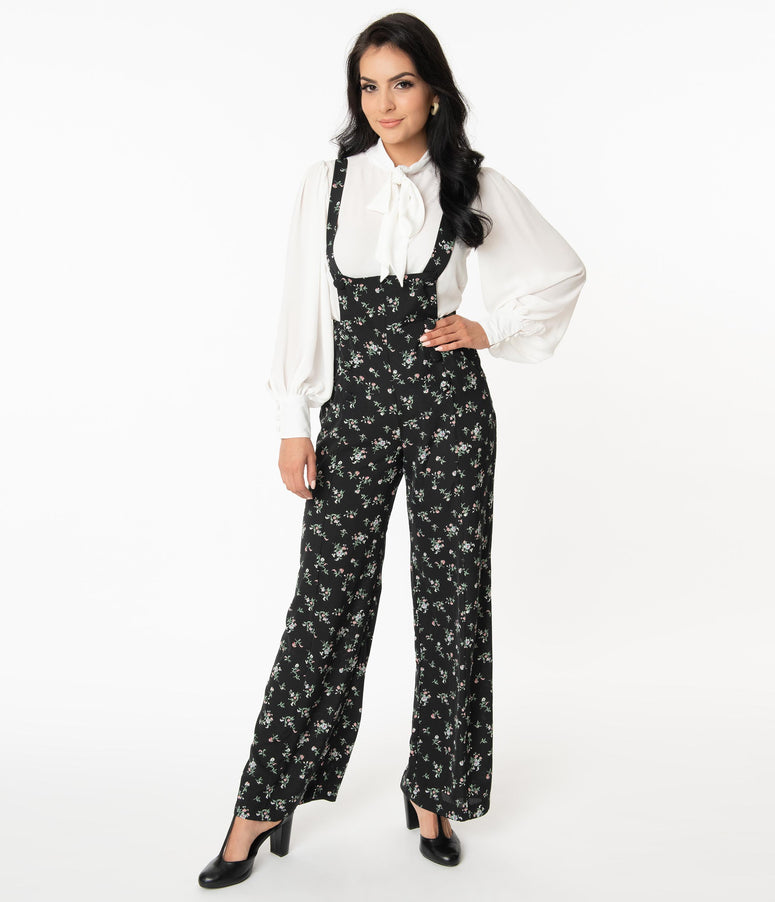 Unique Vintage 1970s Black & Dainty Floral Geena Pinafore Pants