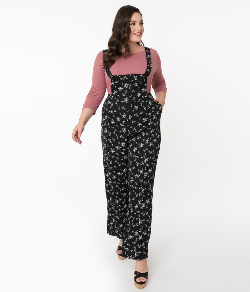 Unique Vintage Plus Size 1970s Black & Dainty Floral Geena Pinafore Pants
