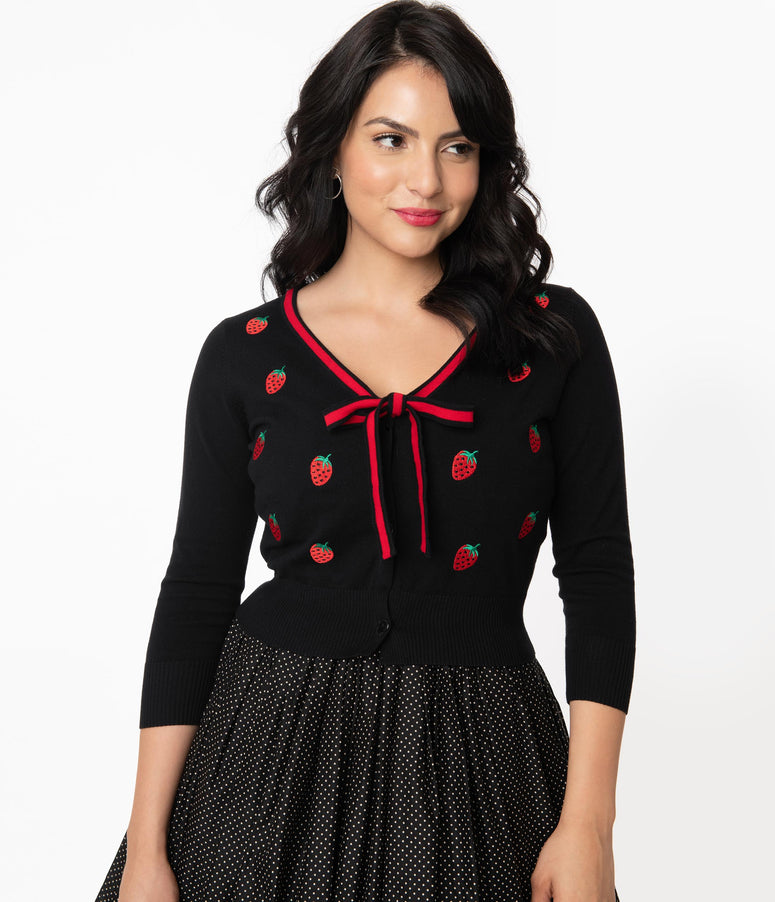 Unique Vintage 1950s Black & Strawberry Dandy Cardigan