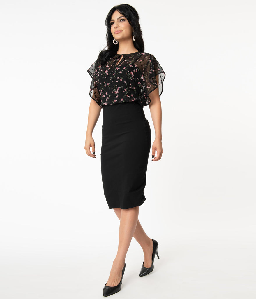 Unique Vintage Black & Floral Capelet Jaymes Wiggle Dress