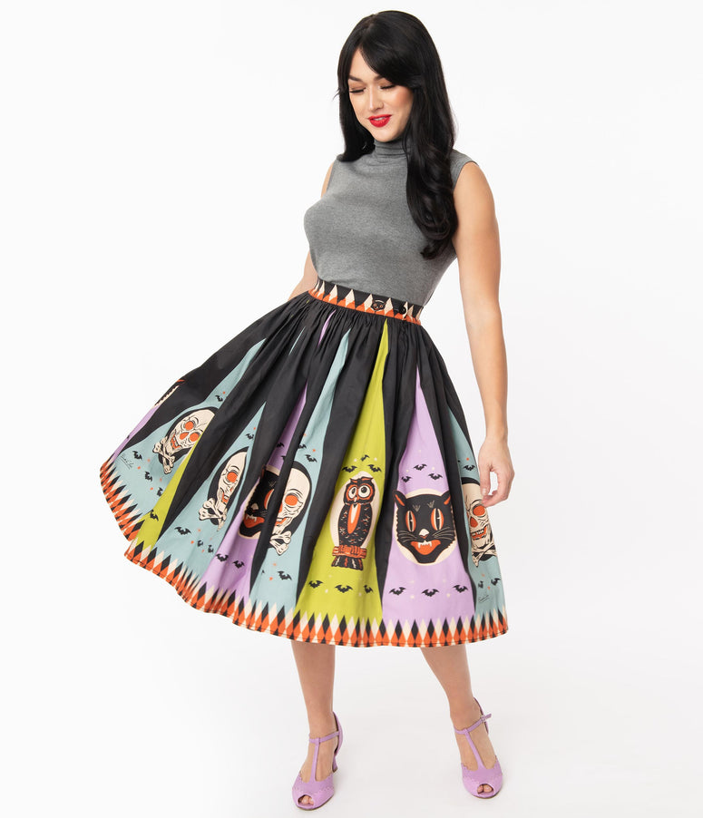 Retro Style Black & Pastel Halloween Treat Swing Skirt