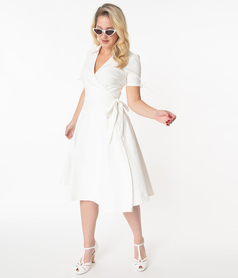 Unique Vintage Retro Ivory Bianca Wrap Dress