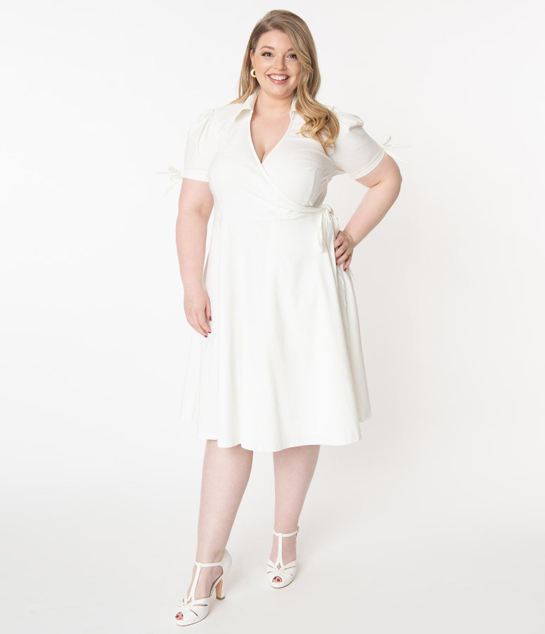 Unique Vintage Plus Size Retro Ivory Bianca Wrap Dress