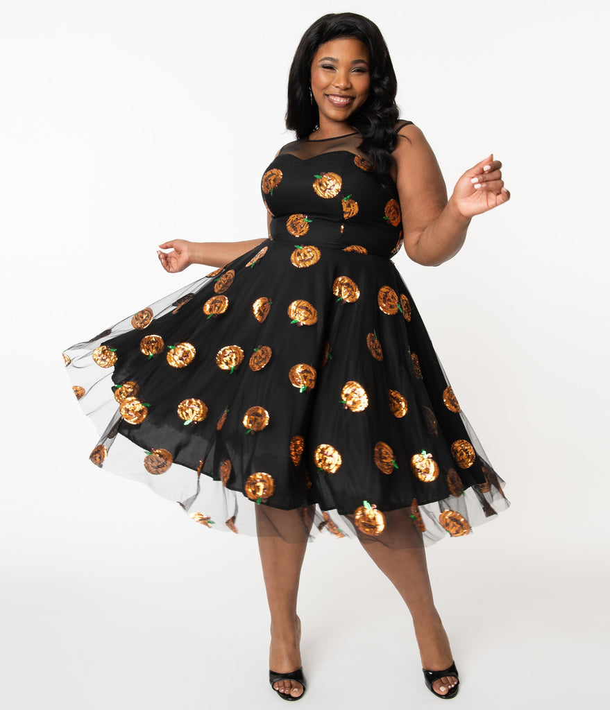 Plus Size Black Mesh & Orange Sequin Pumpkins Vanity Swing Dress