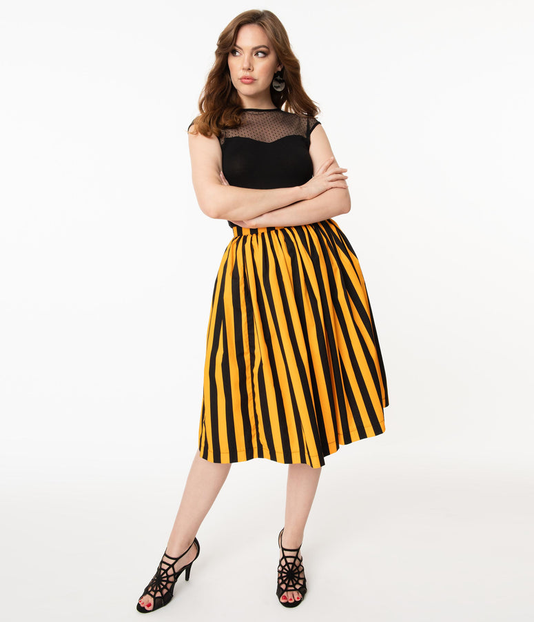 Orange & Black Stripe Gathered Swing Skirt