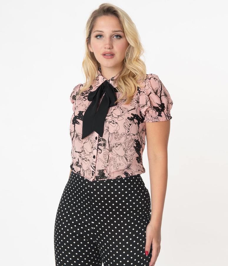 Hell Bunny Pink & Black Floral Print Fiona Blouse