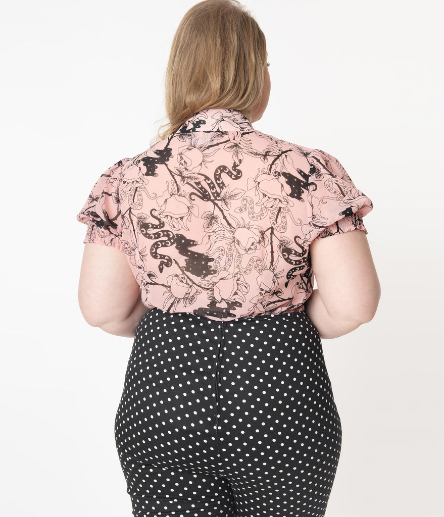 Hell Bunny Plus Size Pink & Black Floral Print Fiona Blouse