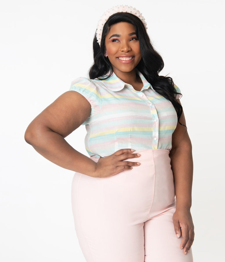 Hell Bunny Plus Size Pastel Rainbow Stripe Shimmer Blouse
