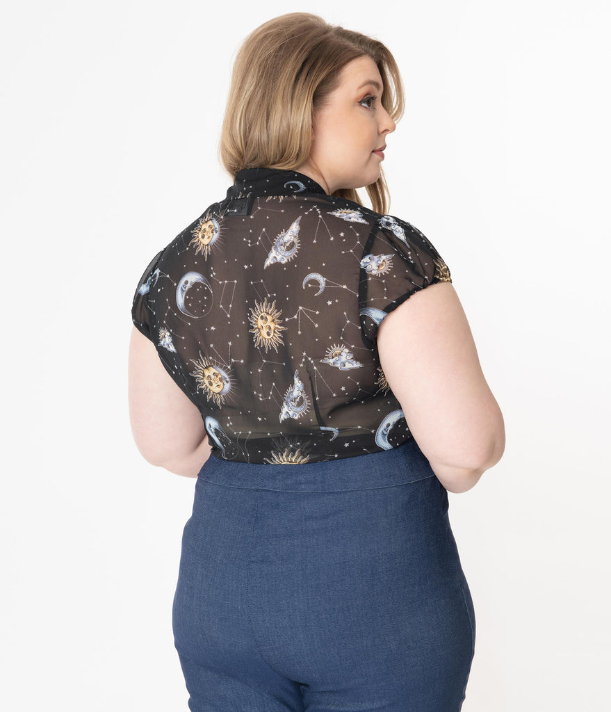 Hell Bunny Plus Size Black Solaris Print Sheer Blouse