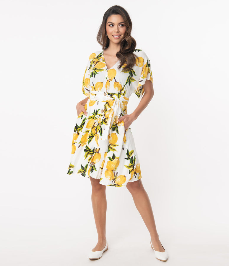 Retro Style Lemon Print Fit & Flare Dress