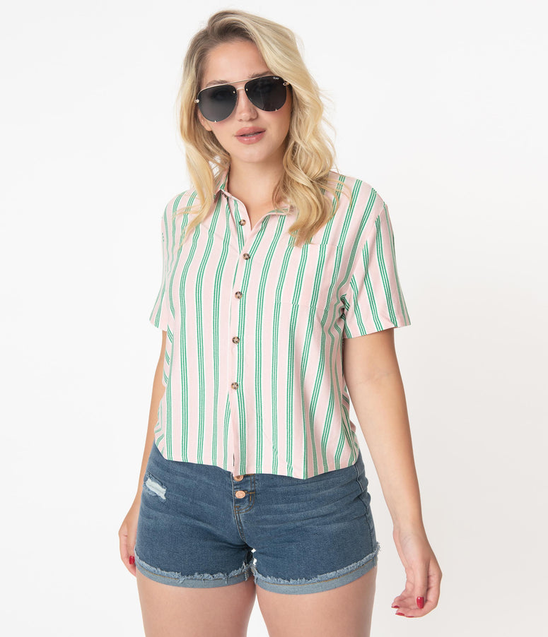 Pink & Green Stripe Casual Blouse